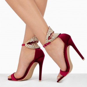 Burgundy Velvet Rhinestone Open Toe Stiletto Heels Ankle Strap Sandals