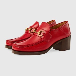 Red Vintage Chunky Heel Loafers for Women