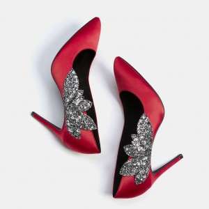 Red Wedding Shoes Satin Rhinestone Pointy Toe Stiletto Heels Pumps