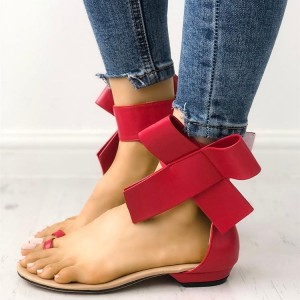 Red Side Bow Sandals Open Toe Flat Sandals