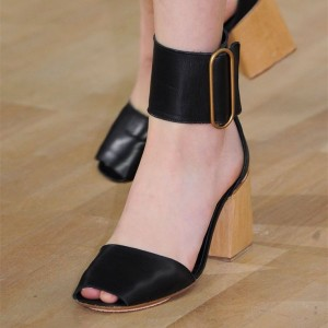 Retro Black Chunky Heels Sandals Peep Toe Buckle Ankle Strap Sandals