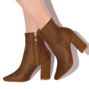 Retro Brown Boots Fashion Suede Hollow Out Pointy Toe Ankle Boots
