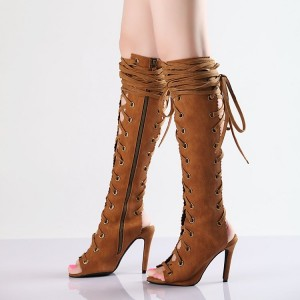 Retro Brown Summer Boots Peep Toe Slingbacks  Lace Up Long Boots