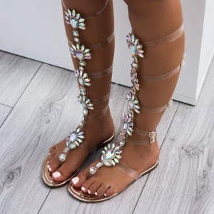 Rhinestone Clear Roman Sandals Strappy Flats Gladiator Sandals