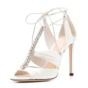Rhinestone Elegant Bridal Shoes T Strap Ivory Heel Sandals