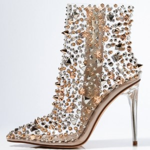 Nude Rivets Zip Clear Shoes Stiletto Heel Pointed Toe Ankle Boots