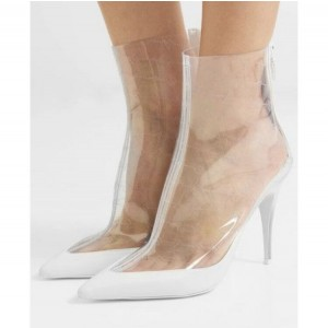 Custom Made White Clear Stiletto Heel Ankle Boots