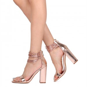 Roes Gold Heels Open Toe  Chunky Heels Strappy Sandals with Zip