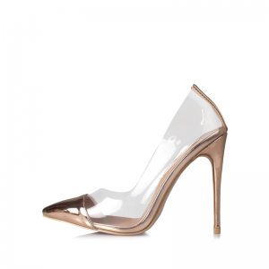 Rose Gold Clear Heels Stiletto Heel Pointed Toe Pumps