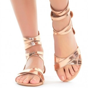 Rose Gold Gladiator Sandals Cross Over Strappy TPU Flats