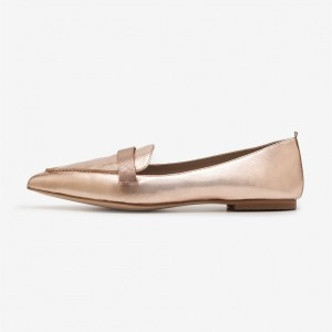Rose Gold Loafers for Women Pointy Toe Flats