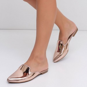 Rose Gold Mirror Leather Mules Pointy Toe Loafers for Women