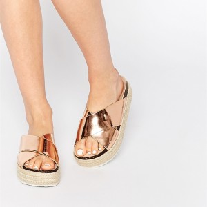 Rose Gold Sandals Platform Mules Open Toe Summer Sandals US Size 3-15