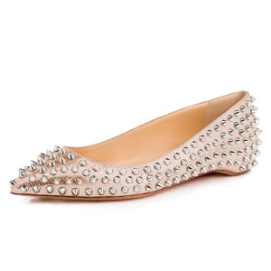 Rose Gold Pointy Toe Flats Python Comfortable Shoes with Rivets
