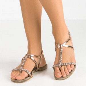 Rose Gold Sparkly Sandals Open Toe T Strap Flat Sandals US Size 3-15