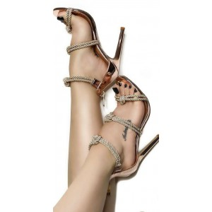 Rose Gold Shoes Strappy Sandals Open Toe Stiletto Heels