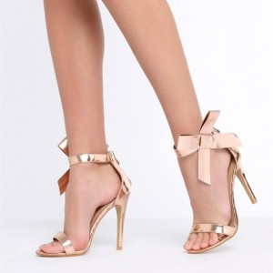 Side Bow Heels Rose Gold Sandals Open Toe Stiletto Ankle Strap Sandals
