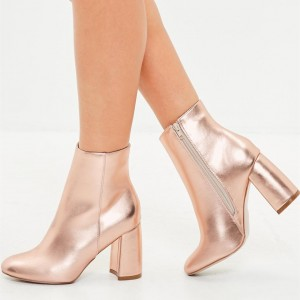 Rose Gold Sparkly Ankle Booties Round Toe Block Heels Boots