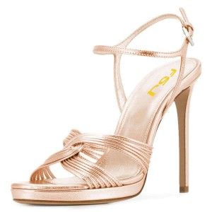 Rose Gold Stiletto Heels Open Toe Slingback Sandals with Platform