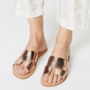 Rose Gold Summer Women's Slide Sandals Open Toe Flat Slides Shoes
