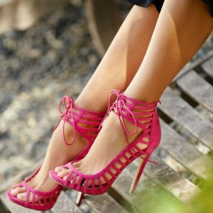 Rose Red Stiletto Heels Peep Toe Lace up Strappy Sandals
