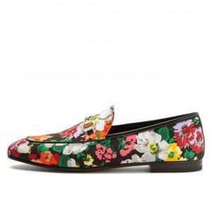Round Toe Comfortable Flats Floral Loafers for Women