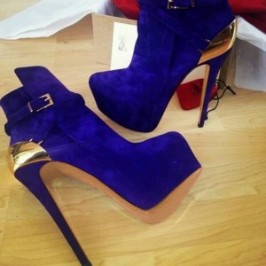 Cobalt Blue Shoes Platform Suede Metal Embellishement Ankle Boots
