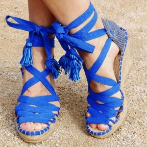 Royal Blue Canvas Strappy Wedge Sandals Platform Tassel Sandals