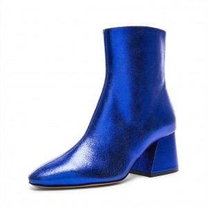 Royal Blue Crack Grain Block Heels Pointy Toe Ankle Booties