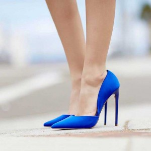 Women's Royal Blue Pointy Toe Stiletto Heels Pumps by FSJ
