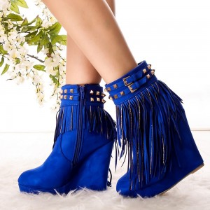 Fashion Royal Blue Fringe Boots Suede Wedge Heel Ankle Boots for Women