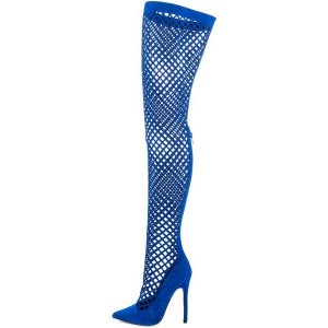 Royal Blue Gladiator Boots Hollow out Stiletto Heels Thigh-high Boots