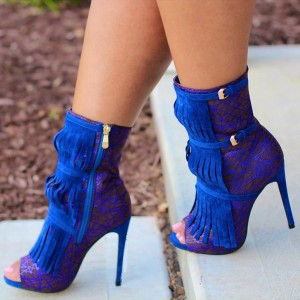 Royal Blue Heels Fringe Lace Open Toe Ankle Summer Boots