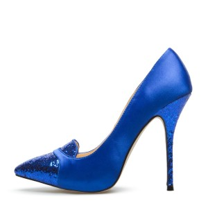 Royal Blue Heels Glitter Pointy Toe Stiletto Heels Pumps