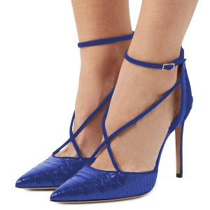 Royal Blue Heels Stiletto Heels Python Closed Toe Sexy Pumps
