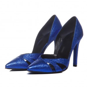 Royal Blue Hollow-out Stiletto Heels Pointed Toe Low Cut Pumps