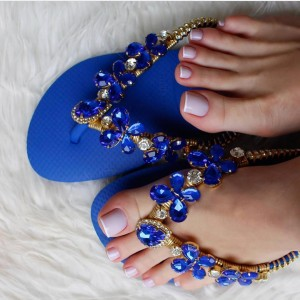 Royal Blue Jeweled Sandals Rhinestone Beach Flat Flip Flops