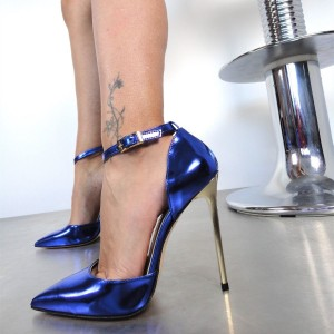 Royal Blue Pointy Toe Ankle Strap Heels High Heel Pumps