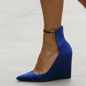 Royal Blue Pointy Toe Wedge Heels Ankle Strap Pumps