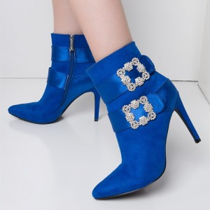 Cobalt Blue Fashion Boots Stiletto Heel Suede Ankle Booties