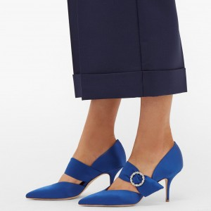 Royal Blue Satin Pointed Toe Stiletto heels Buckle Pumps