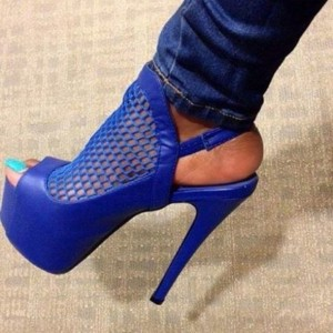 Royal Blue Slingback Sandals Net Stiletto Heels Platform Sandals