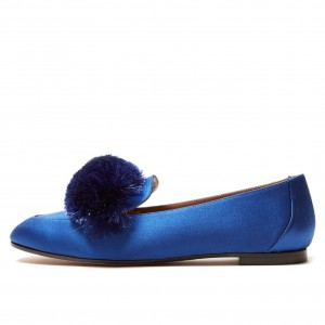 Royal Blue Square Toe Pom Pom Shoes Comfortable Loafers for Women