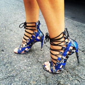 Royal Blue Strappy Sandals Python Lace up Open Toe Stiletto Heels