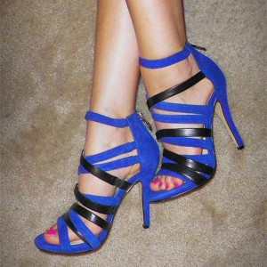 Royal Blue Strappy Sandals Sexy Stiletto Heels Sandals for Women