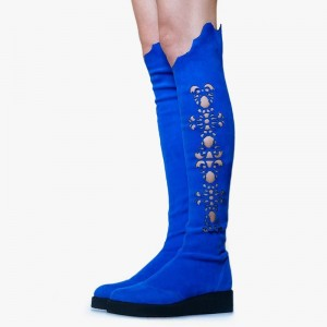 Royal Blue Suede Boots Hollow Out Flat Knee High Boots