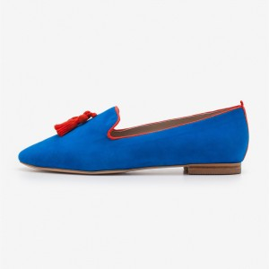 Royal Blue Suede Loafers for Women Pointy Toe Flats with Tassel