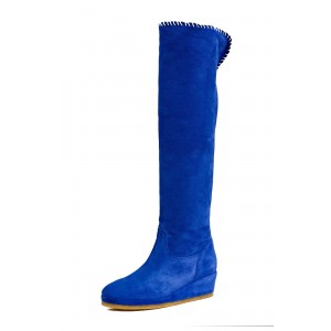Royal Blue Suede Long Boots Platform Heel Knee-high Boots