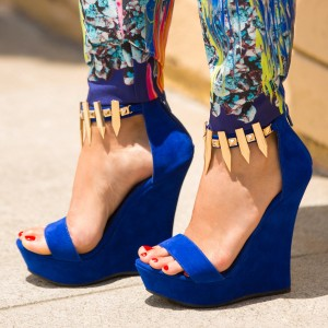 Royal Blue Wedge Sandals with Gold Embelishment