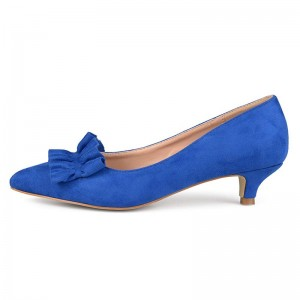 Royal Bule Ruffle Basic Pumps Kitten Heel Pointed Toe Pumps